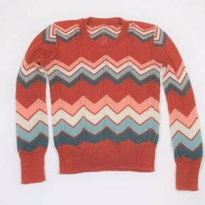 Vtg 70s S/M Chevron Pull Over Sweater Light Rust